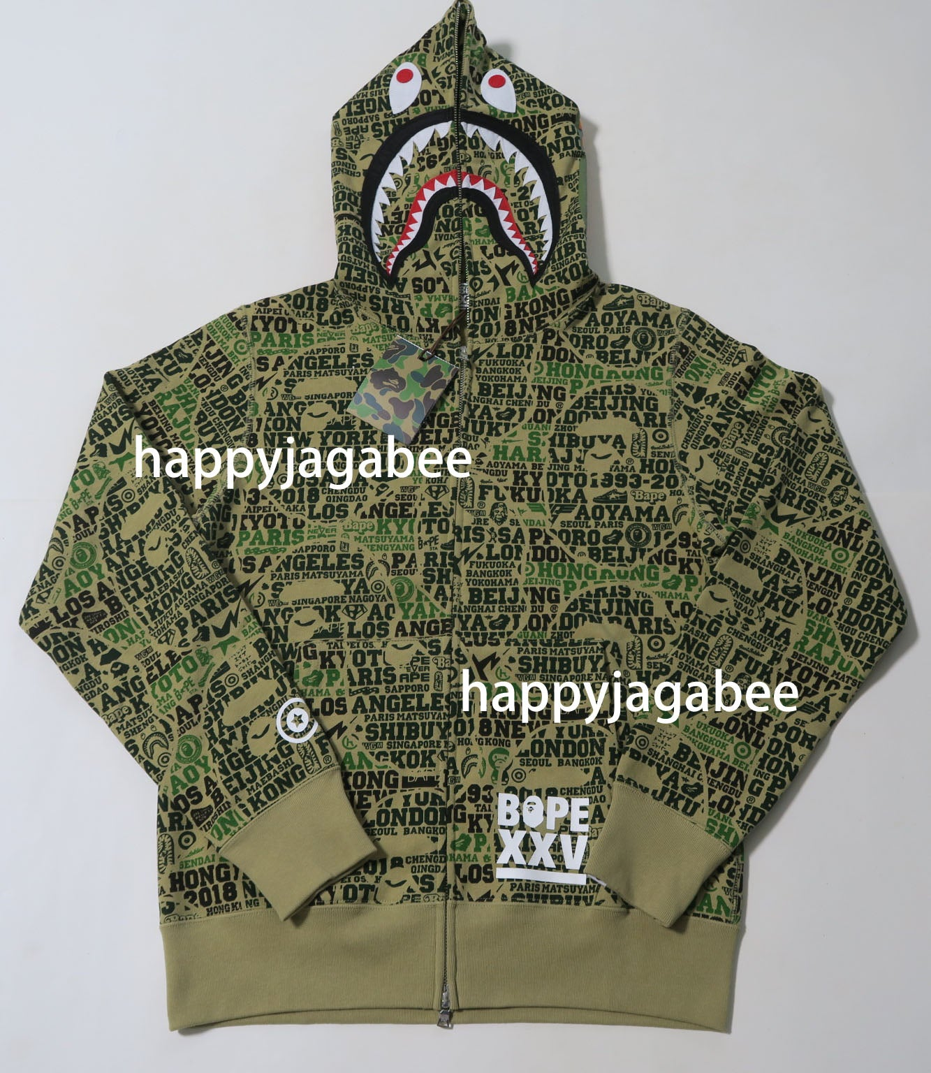4c9309ce1ca4 A BATHING APE BAPE XXV CITIES CAMO SHARK FULL ZIP HOODIE 25TH ANNIVERSARY -  happyjagabee store