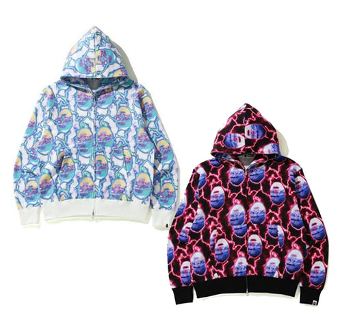 A BATHING APE LIGHTNING RELAXED ZIP HOODIE