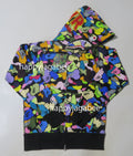A BATHING APE MULTI CAMO SHARK FULL ZIP HOODIE