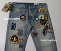 A BATHING APE BAPE REGULAR FIT CRAZY PATCH JEANS - happyjagabee store