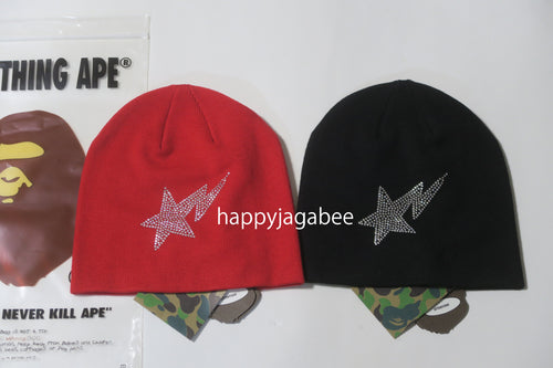A BATHING APE STA CRYSTAL STONE KNIT CAP