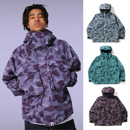A BATHING APE COLOR CAMO LOOSE FIT HOODIE JACKET