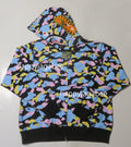 A BATHING APE NEW MULTI CAMO SHARK RELAXED FULL ZIP HOODIE