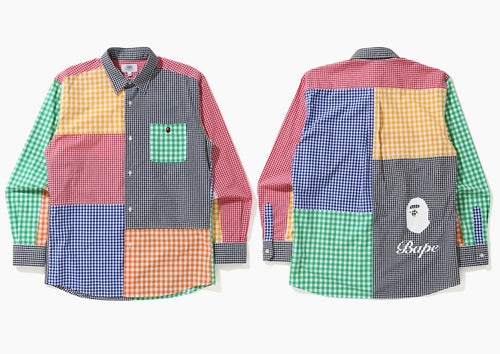 A BATHING APE GINGAM CHECK MULTI PATTERN SHIRT