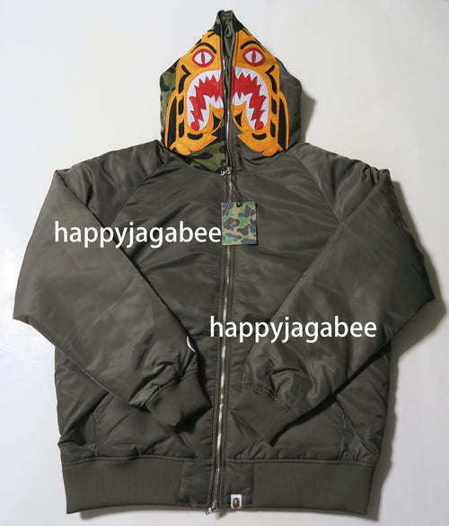 Sale! A BATHING APE 1ST CAMO TIGER HOODIE DOWN JACKET - happyjagabee store