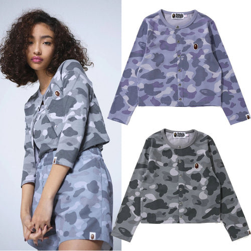 A BATHING APE Ladies' COLOR CAMO CARDIGAN