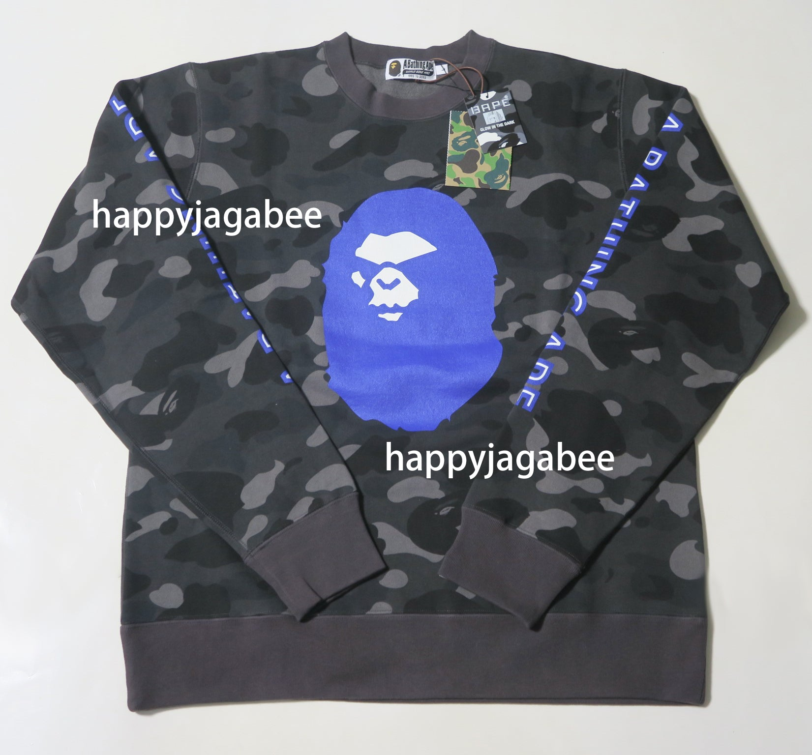 77187c3b A BATHING APE COLOR CAMO MAD FACE WIDE CREW NECK - happyjagabee store