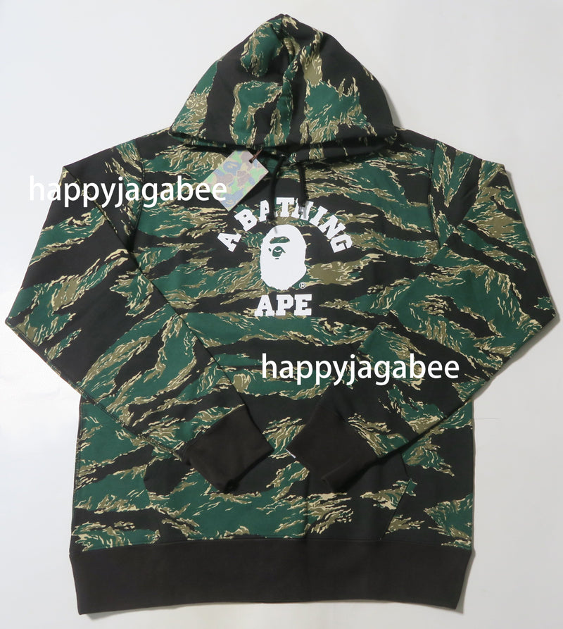 A BATHING APE TIGER CAMO COLLEGE PULLOVER HOODIE - happyjagabee store