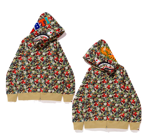 A BATHING APE x Ralph Breaks the Internet CAMO SHARK FULL ZIP HOODIE - happyjagabee store