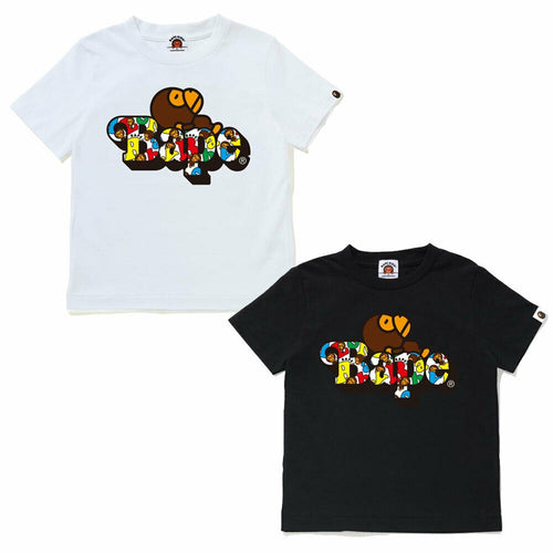 A BATHING APE BAPE KIDS BABY MILO ALPHABET MILO ON BAPE TEE