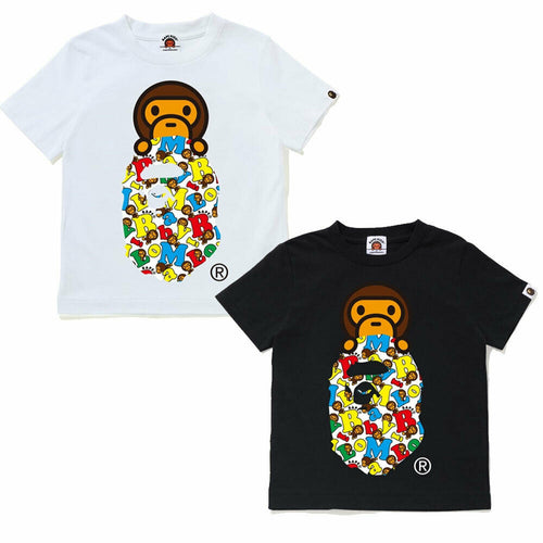 A BATHING APE BAPE KIDS BABY MILO ALPHABET MILO ON APE TEE