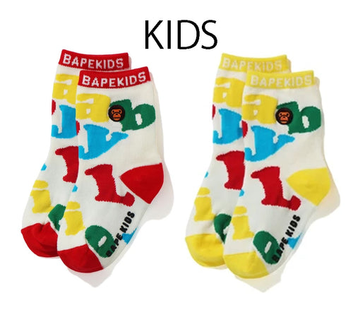 A BATHING APE BAPE KIDS BABY MILO ALPHABET SOCKS