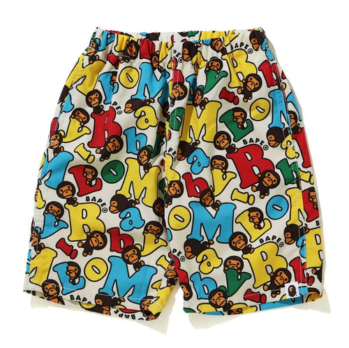 A BATHING APE BAPE KIDS BABY MILO ALPHABET BEACH SHORTS
