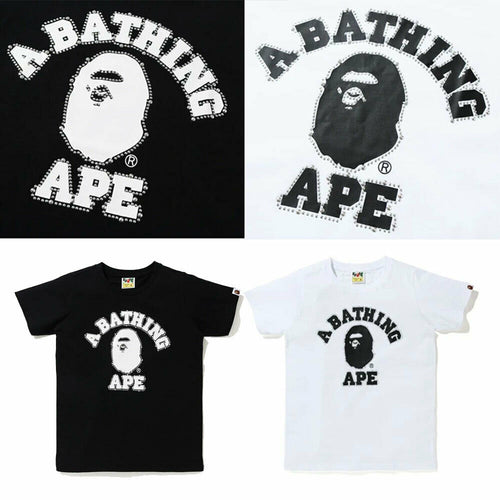 A BATHING APE Ladies' STUDDED COLLEGE TEE