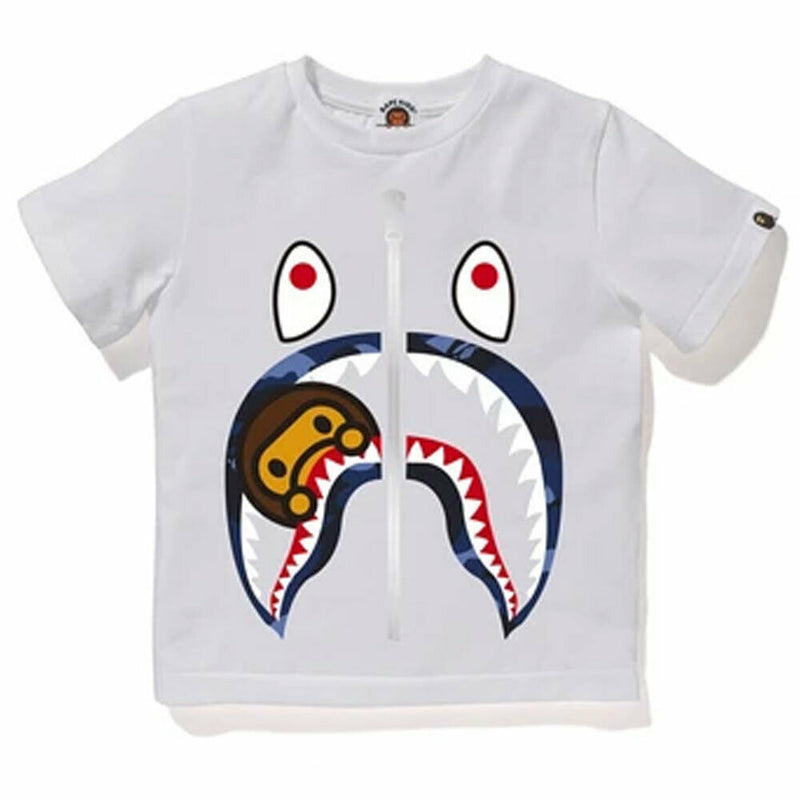 A BATHING APE BAPE KIDS COLOR CAMO MILO SHARK TEE