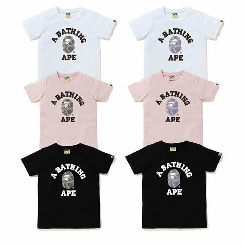 A BATHING APE Ladies' COLOR CAMO COLLEGE TEE New