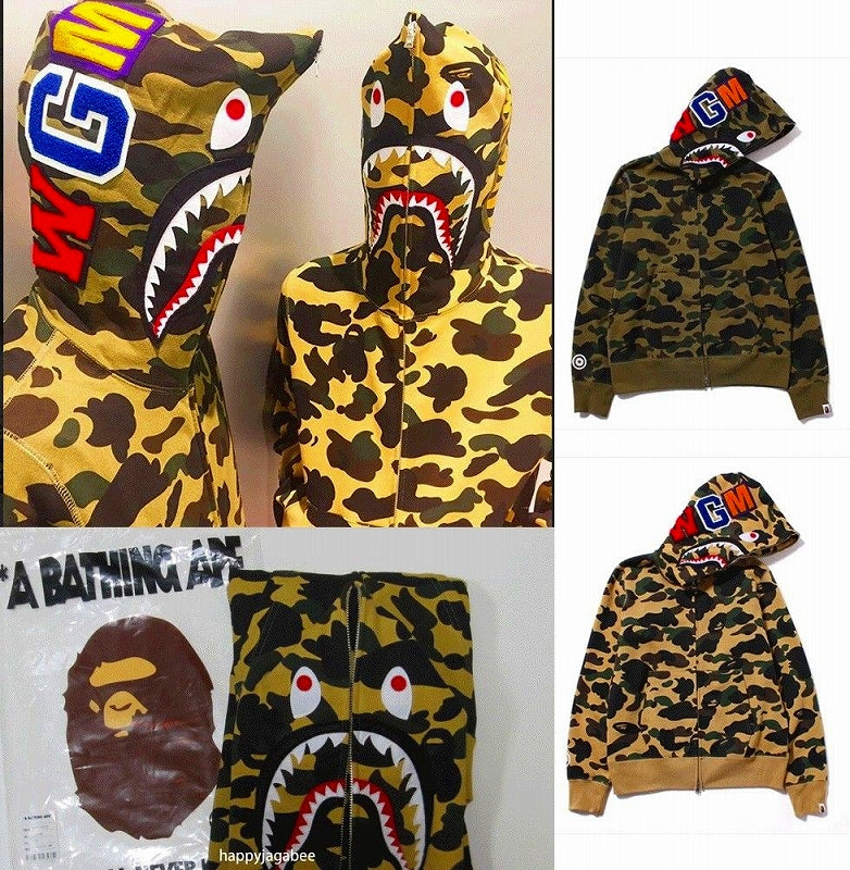 A BATHING APE 1ST CAMO SHARK FULL ZIP HOODIE - happyjagabee store