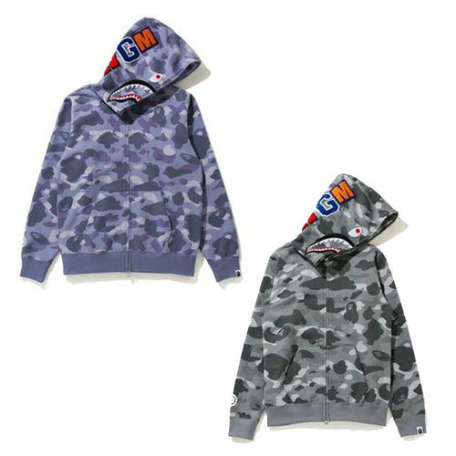 A BATHING APE Ladies' COLOR CAMO SHARK FULL ZIP HOODIE New