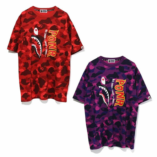A BATHING APE Ladies' COLOR CAMO SHARK OVERSIZED TEE ONEPIECE