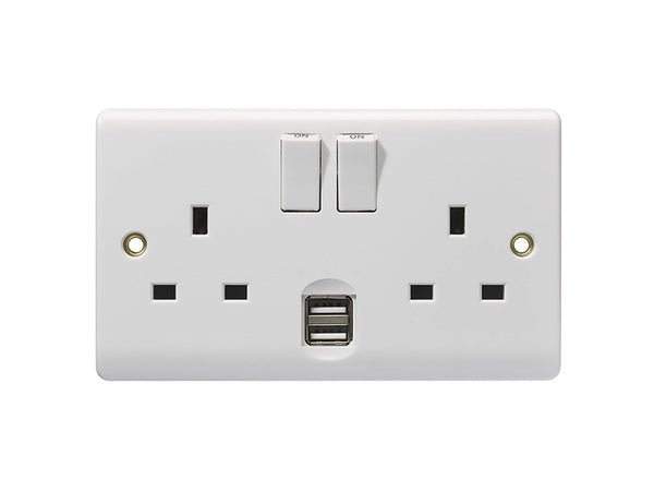 Energenie Double Wall Socket With USB Charging Port