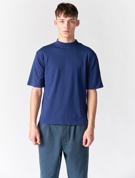 Abel Mock Neck Crew Men - Blue