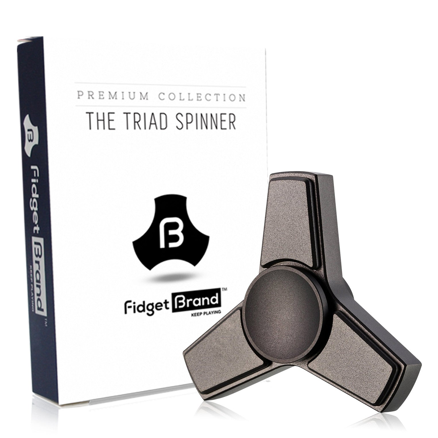 The Triad Fidget Spinner by Fidgetbrand, Black/Stainless Steel