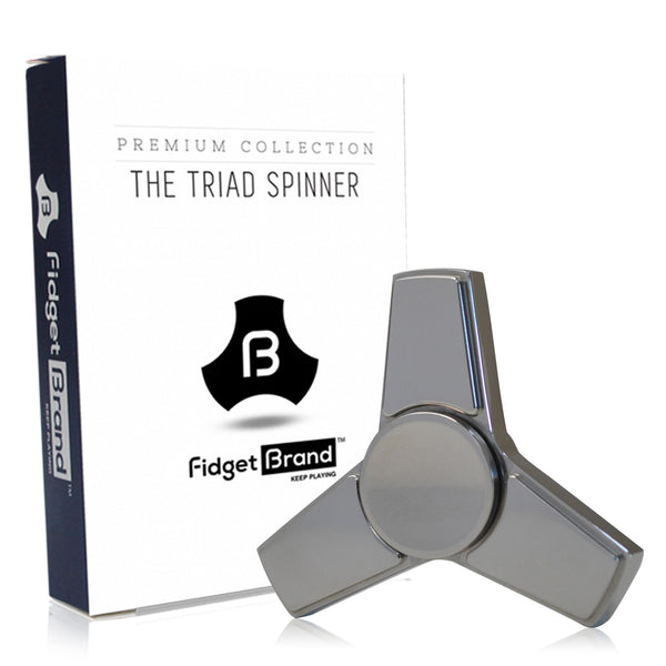 The Triad Fidget Spinner by Fidgetbrand, Silver/Stainless Steel