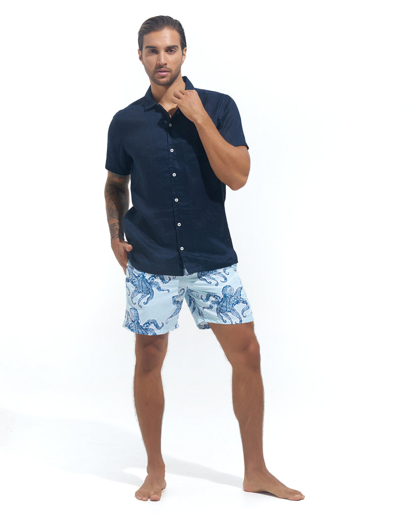 RESORT SHIRT -NAVY LINEN