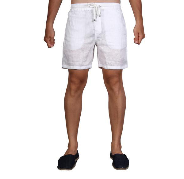 LINEN WALK SHORTS - WHITE