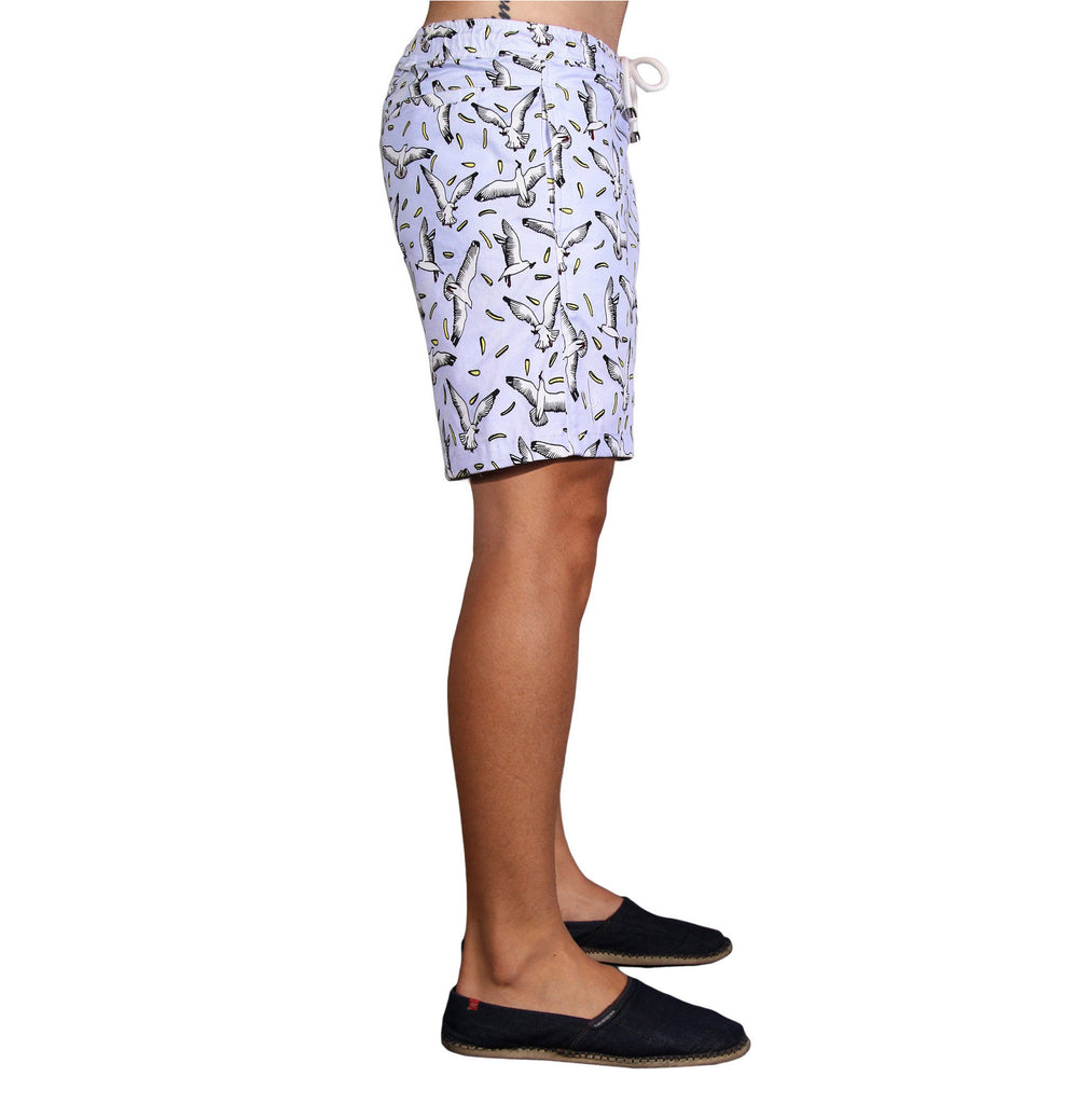 MARINA WALKSHORTS - Seagull print stretch cotton