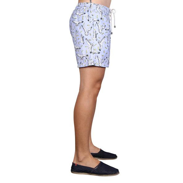 LAGUNA BOARDSHORTS in Seagull & Chips (Mid length)