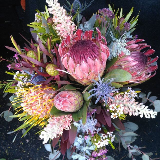 Mudgee Monkey is a local based florist in the Mudgee Area. Pictured is a large bouquet of native local Mudgee flowers.