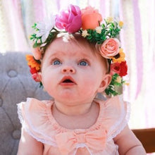 Load image into Gallery viewer, Mudgee florist Mudgee Monkey is a local based florist in the Mudgee Area. Pictured is peach and pink flower babies full flower crown,