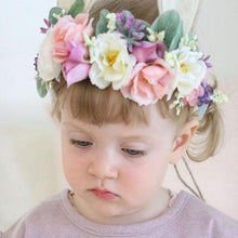 Load image into Gallery viewer, Mudgee florist Mudgee Monkey is a local based florist in the Mudgee Area. Pictured is peach and pink flower childs full flower crown.