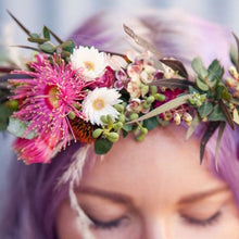Load image into Gallery viewer, Mudgee florist Mudgee Monkey is a local based florist in the Mudgee Area. Pictured is peach and pink native full flower crown,