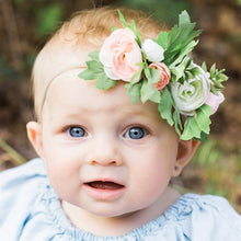 Load image into Gallery viewer, Mudgee florist Mudgee Monkey is a local based florist in the Mudgee Area. Pictured is peach and pink flower childs full flower crown,