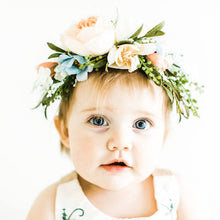 Load image into Gallery viewer, Mudgee florist Mudgee Monkey is a local based florist in the Mudgee Area. Pictured is a pastel peach and pink  baby flower crown