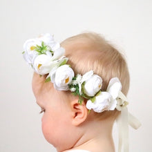 Load image into Gallery viewer, Mudgee florist Mudgee Monkey is a local based florist in the Mudgee Area. Pictured is a classic white and green flower baby crown