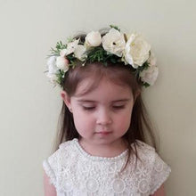 Load image into Gallery viewer, Mudgee florist Mudgee Monkey is a local based florist in the Mudgee Area. Pictured is white and gum flower childs full flower crown,
