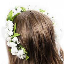 Load image into Gallery viewer, Mudgee florist Mudgee Monkey is a local based florist in the Mudgee Area. Pictured is white flower childs half flower crown,