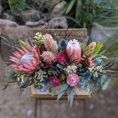 Native boxed arrangmentMudgee florist Mudgee monkey. Mother's day free delivery. wild flower mudgee