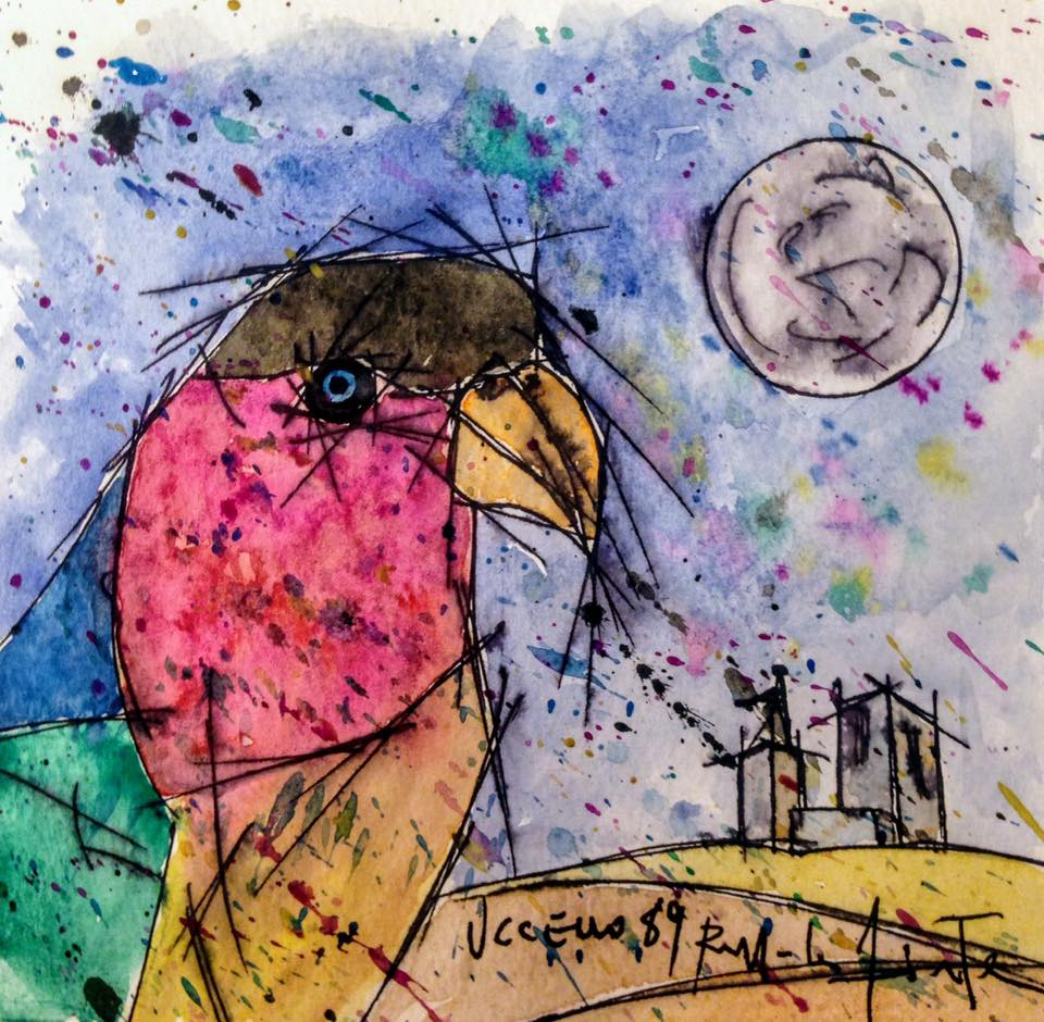 Uccello ( Bird ) - N* 89 Watercolor On Paper With Black Frame