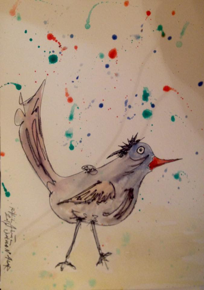 Uccello (Bird) N*4 - Water Color On Paper
