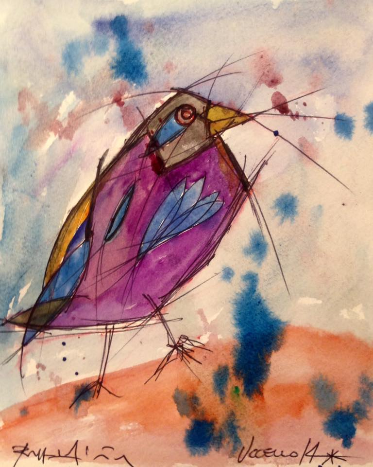 Uccello (Bird)  N*14 - Water Color On Paper - SOLD