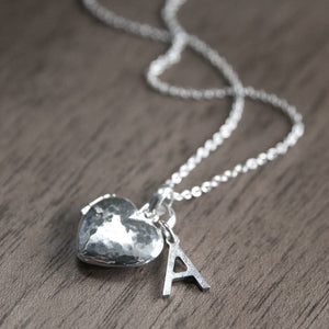 Silver Hammered Heart Locket Necklace-Necklace-LouLou-Loves