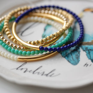 Coloured Gold & Glass Stacking Bracelets-Bracelet-LouLou-Loves