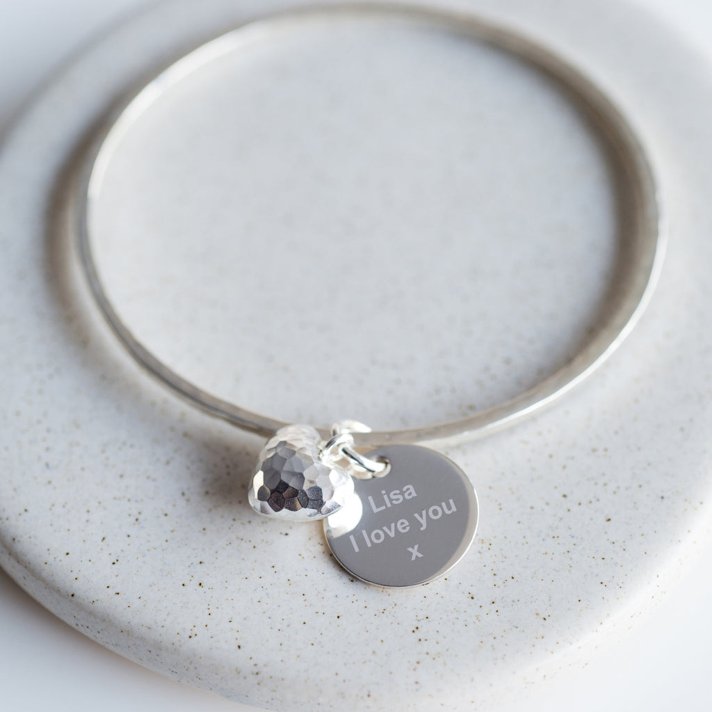 Solid Silver Hammered Bangle-Bracelet-LouLou-Loves