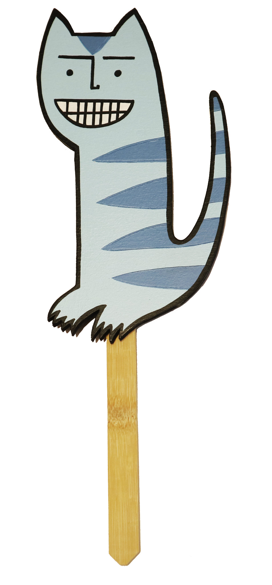 alan rogerson cat on a stick blue the art hound gallery