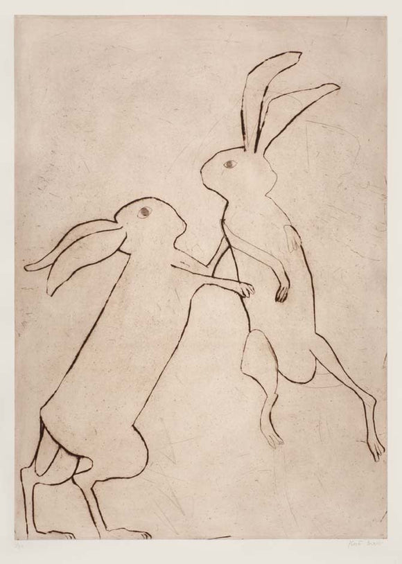 Kate Boxer - Boxing Hares (Framed)