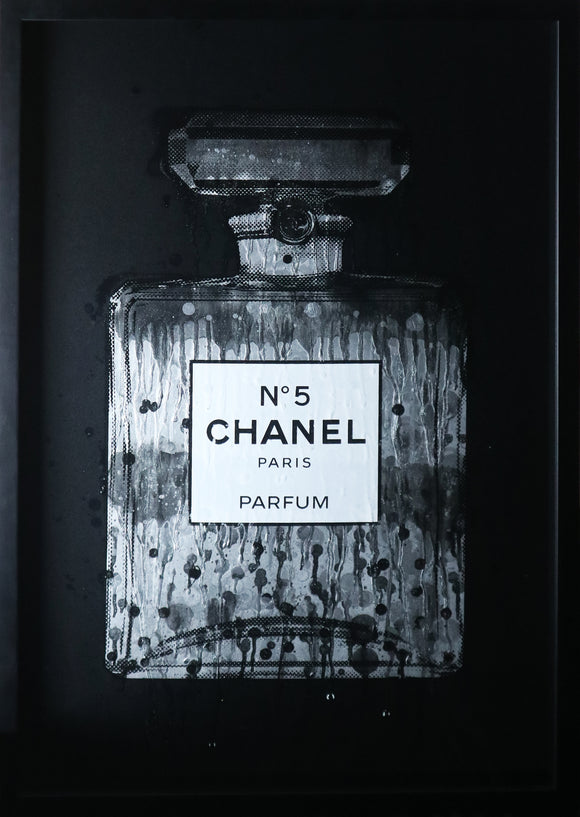Simon Freeborough - Chanel No.5 Grey with Drips (Framed)